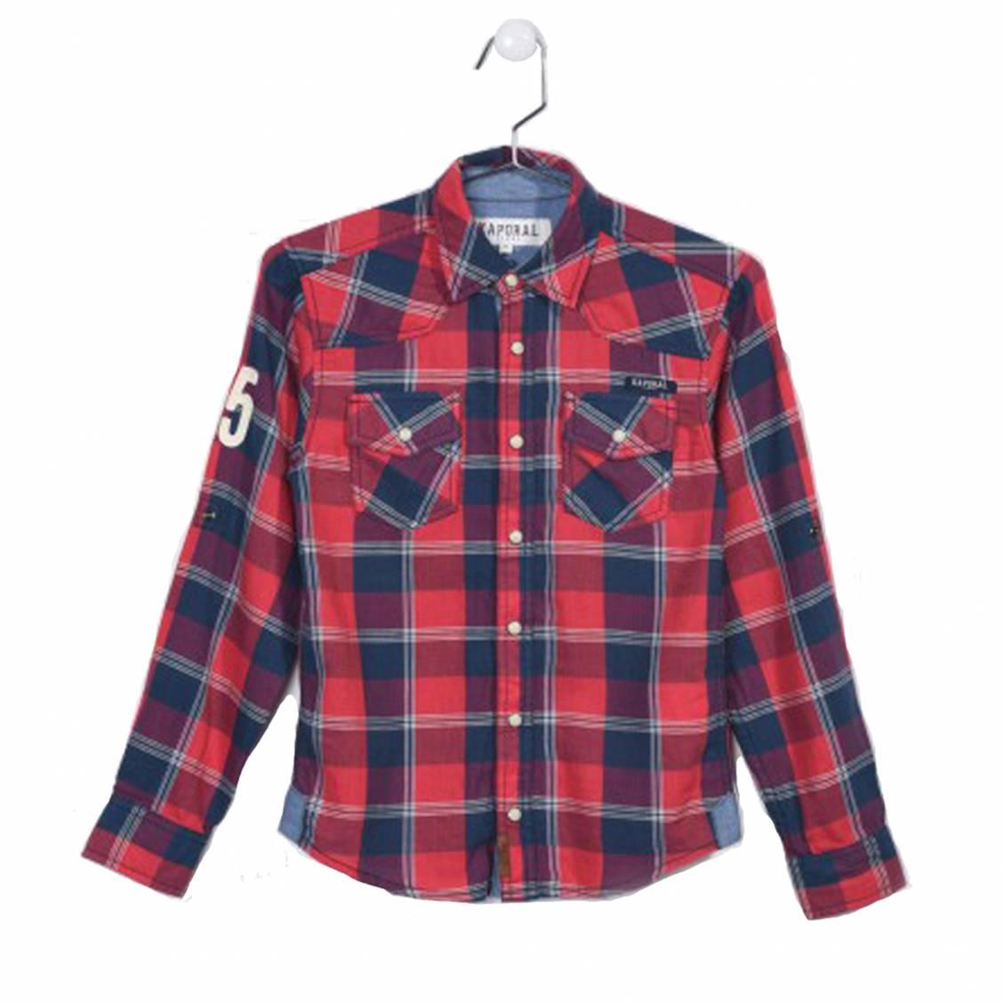 Chemise droite  niels en coton à carreaux rouges, bleu marine et blancs, floquée au dos