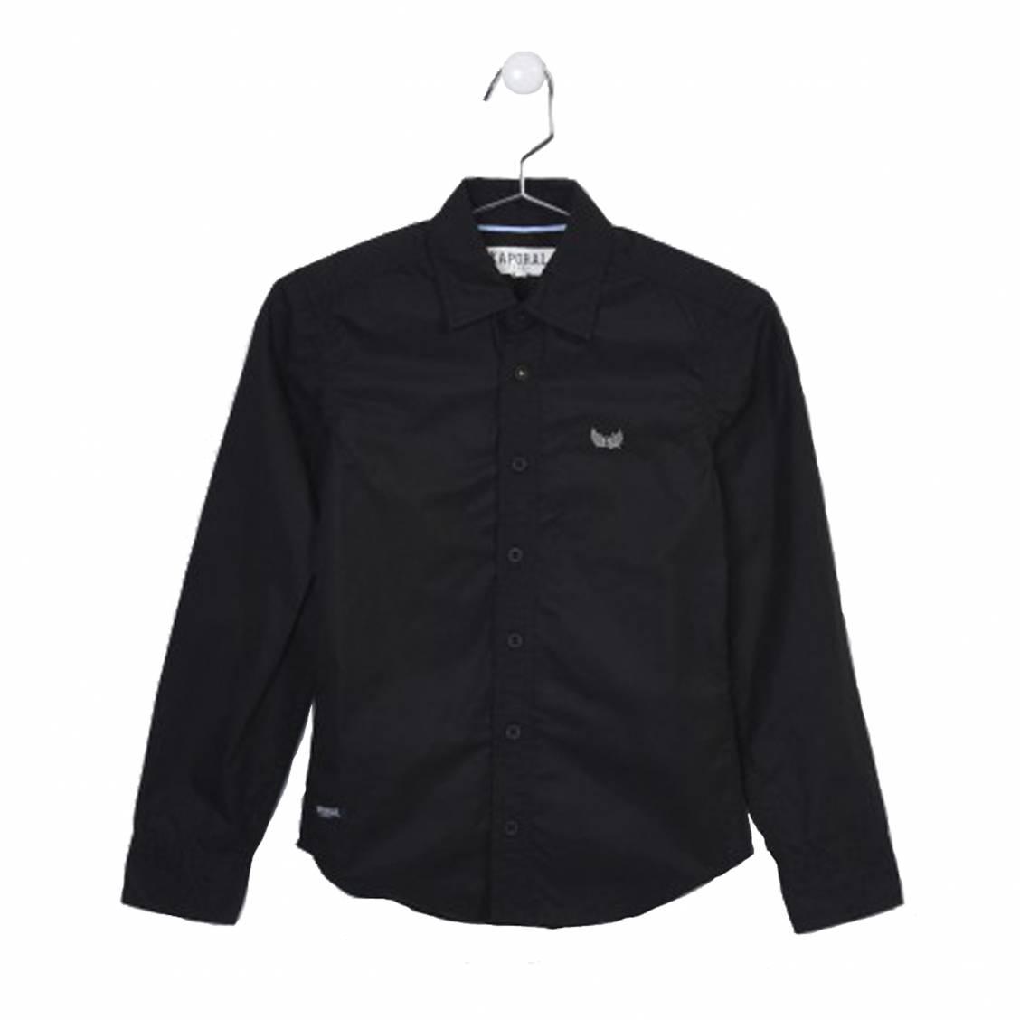 Chemise droite  nera en coton noir floquée au dos