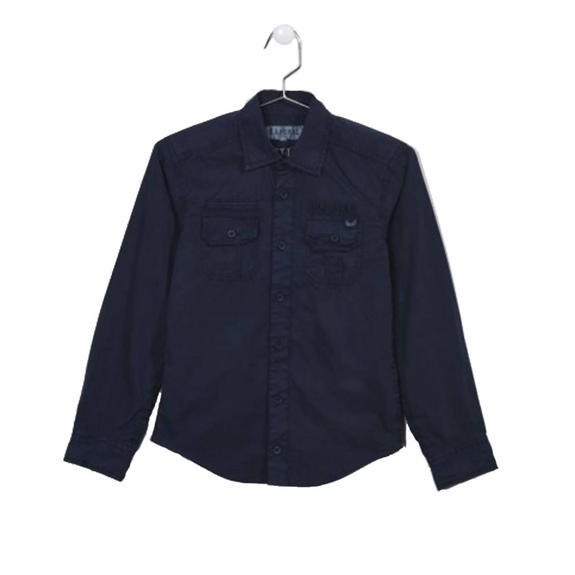 Chemise droite  nagam en coton bleu marine brodée au dos