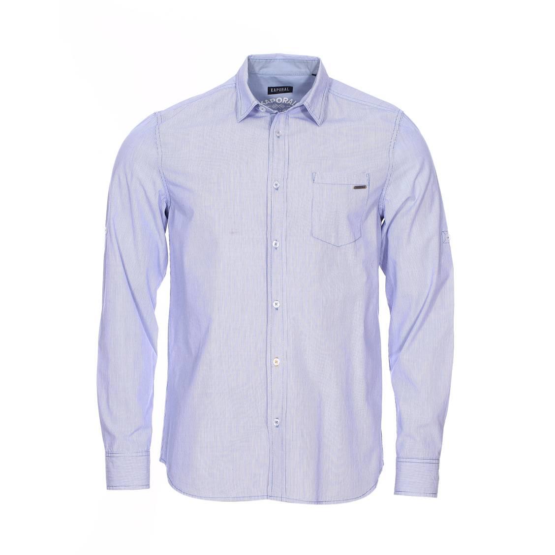 Chemise cintrée  vasco en coton blanc à rayures bleues