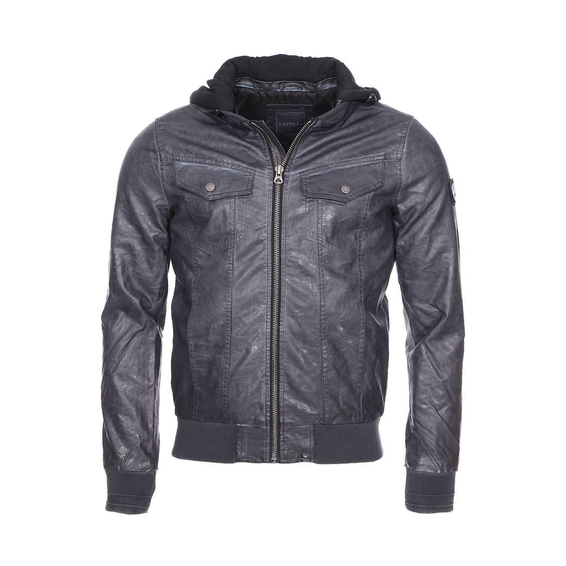 Blouson à capuche amovible  style motard en simili cuir gris