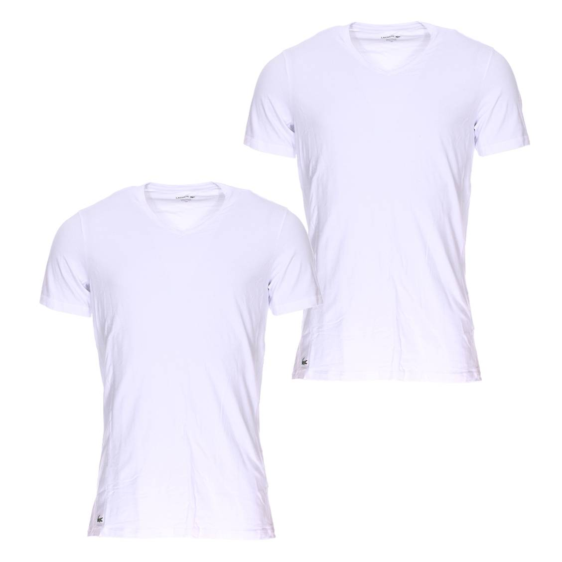 lot de 2 tee shirts col v lacoste en coton stretch blanc rue des hommes. Black Bedroom Furniture Sets. Home Design Ideas