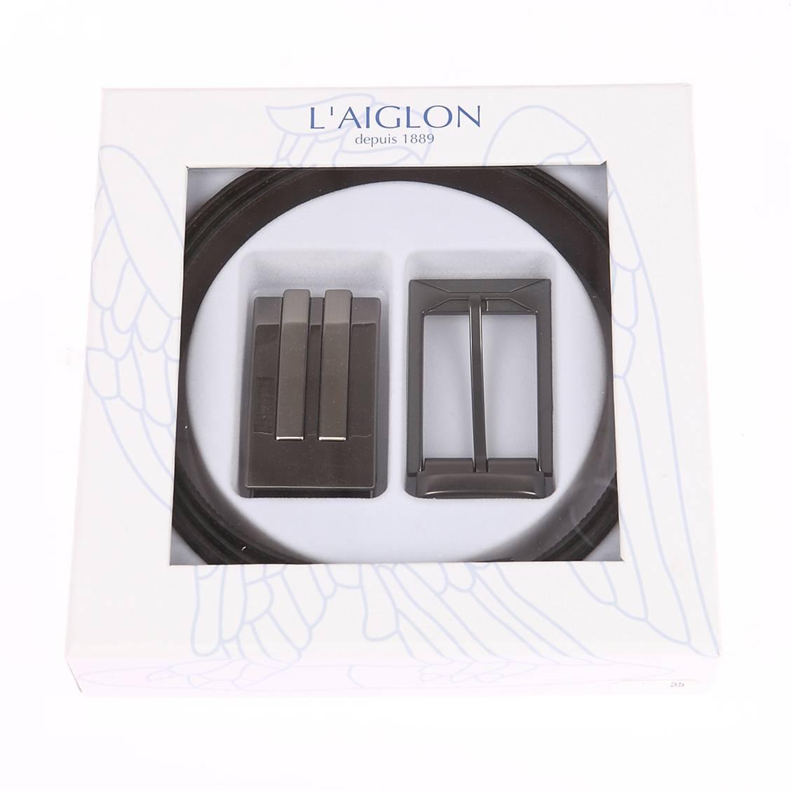 Coffret cadeau L'aiglon Made in France : ceinture ajustable noire réversible marron à boucle pleine argentée et boucle à ardillon rectangulaire