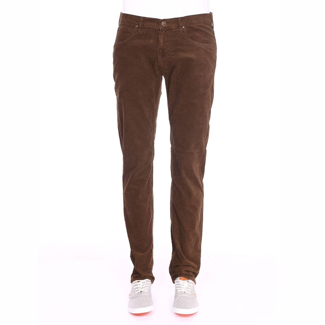 Pantalon droit Lee en velours marron