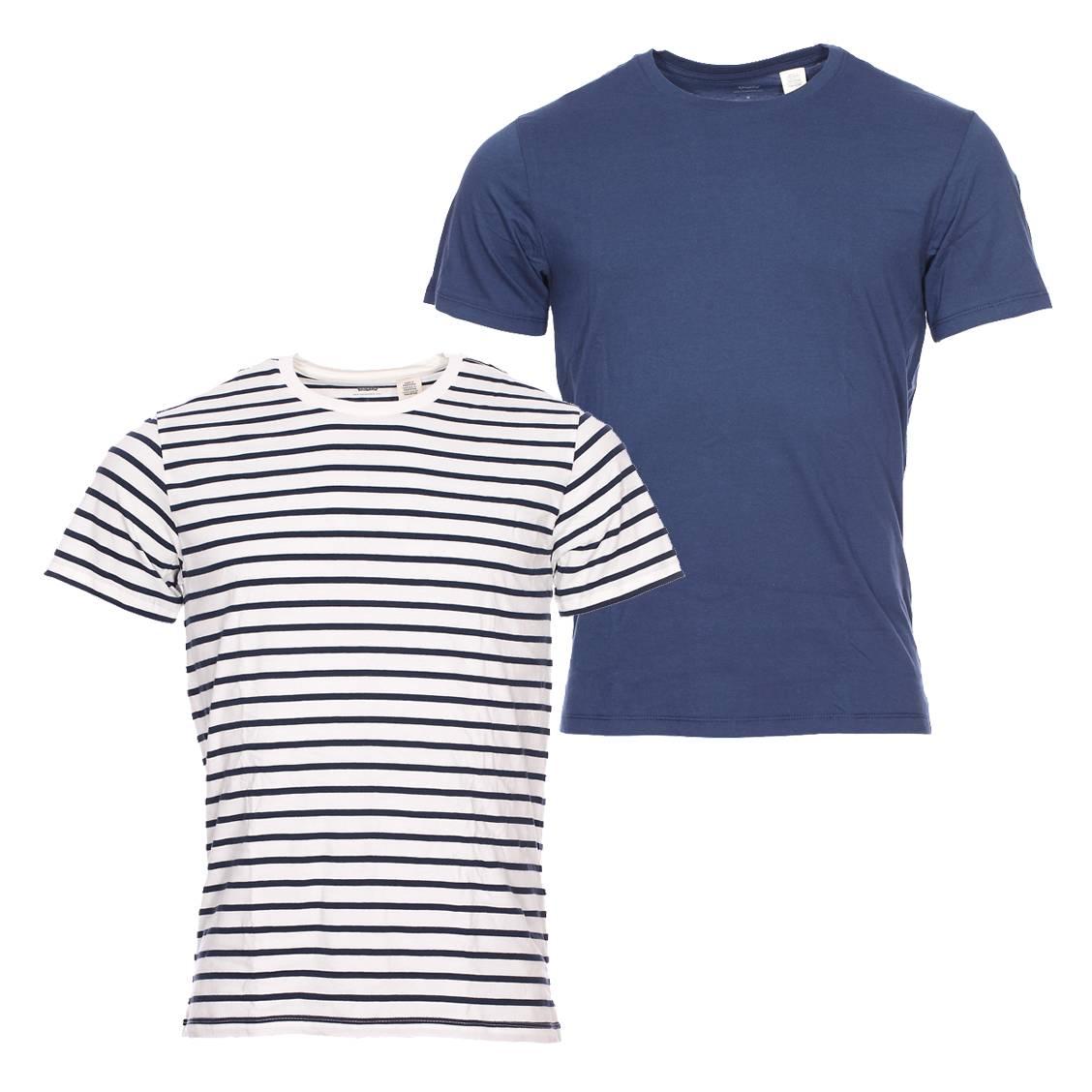 Lot de 2 tee-shirts col rond Levi's en coton : 1 bleu marine et ...