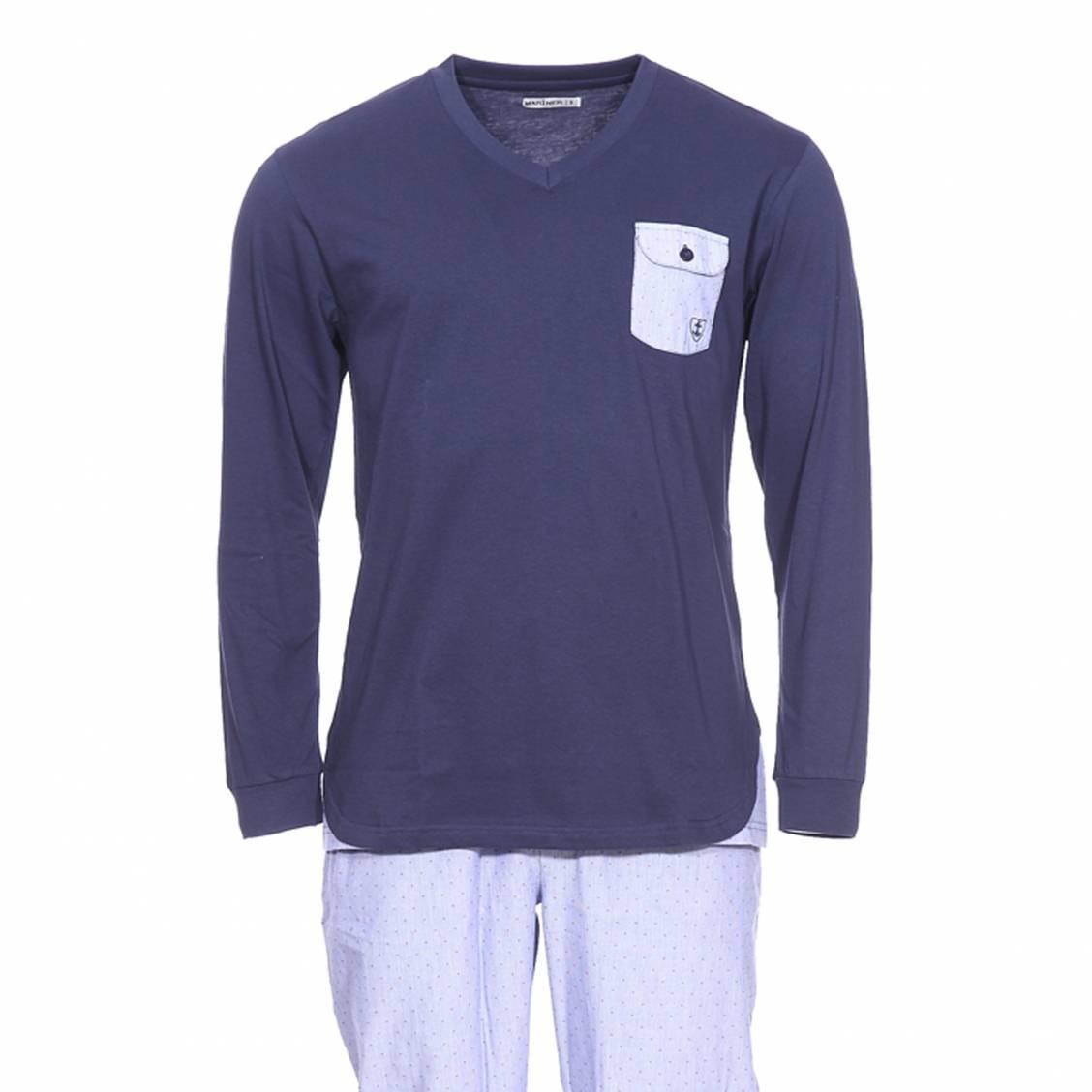 06261ec2a7a04 Pyjama long Mariner bi-matière   tee-shirt manches longues col v en jersey  de coton bleu marine et pantalon en popeline de coton à à rayures bleu avec  ...