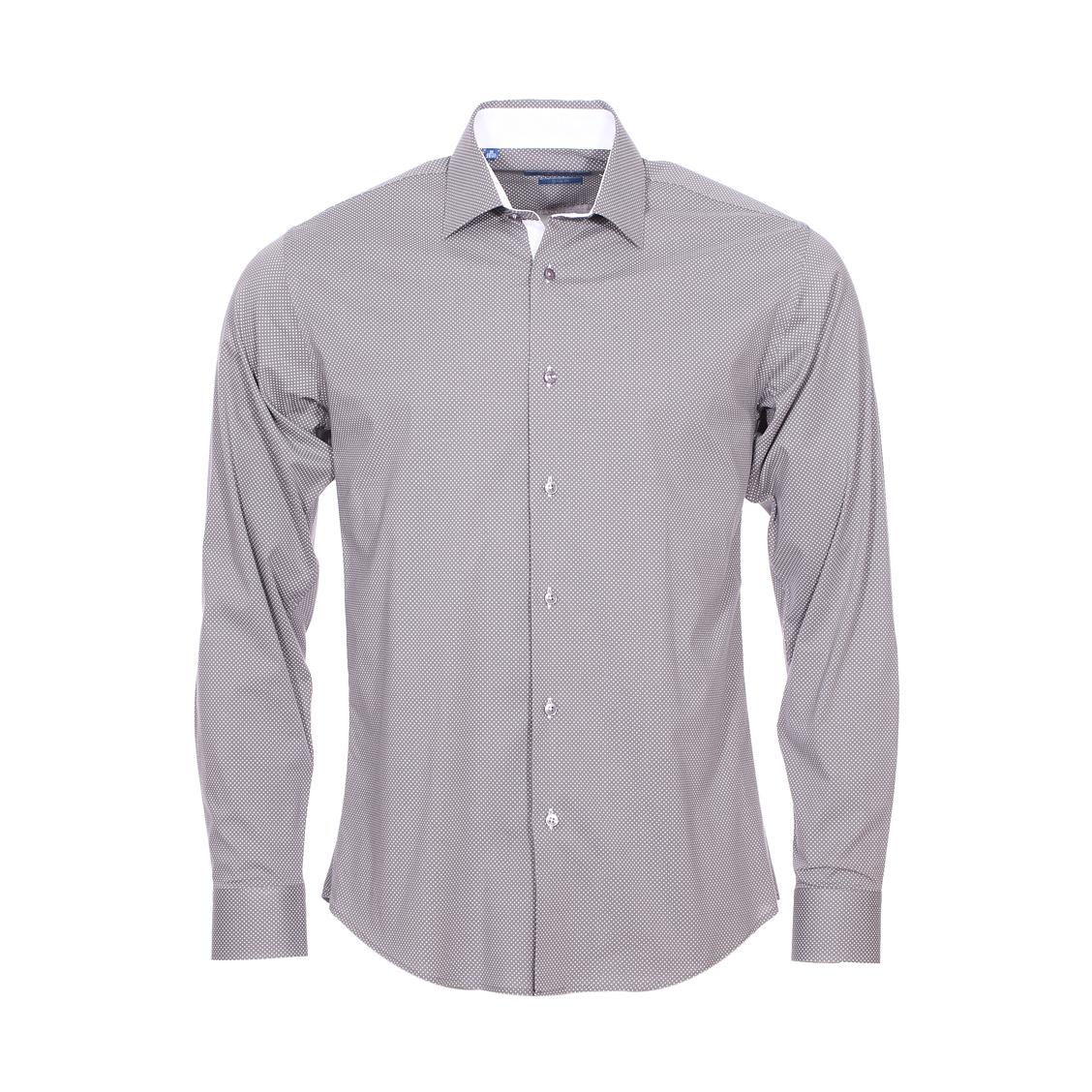Chemise cintrée  en coton gris à pois blancs
