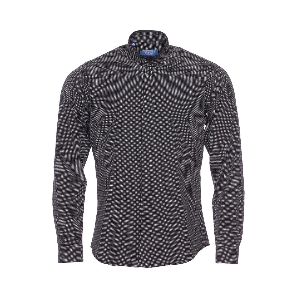 Chemise cintrée  en coton noir à pois blancs et col mao