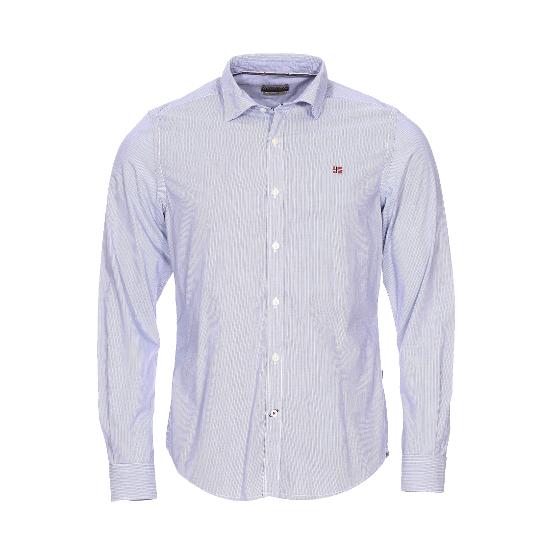 Chemise cintrée  gerrington en coton à fines rayures blanches et bleu marine