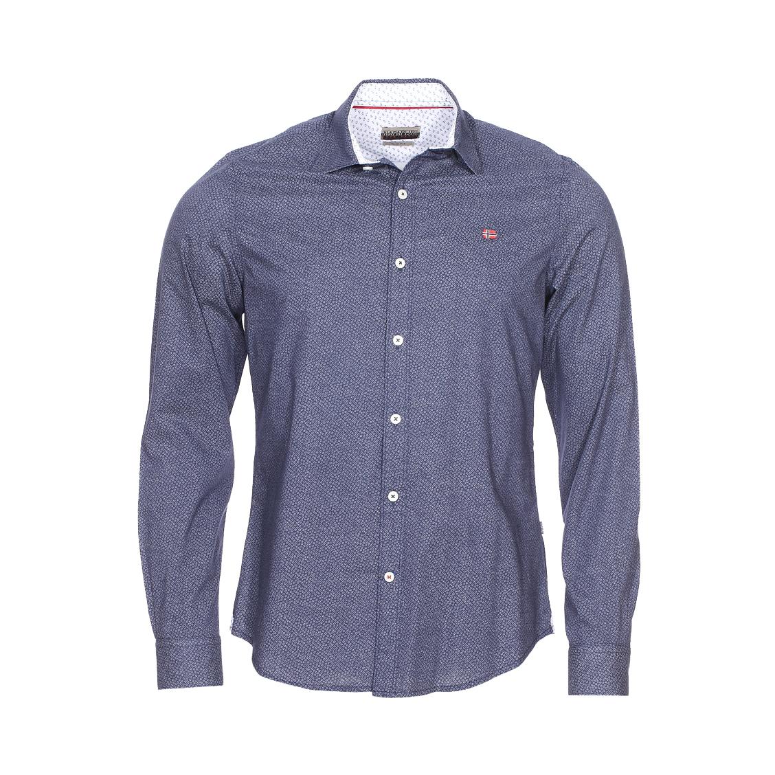 Chemise cintrée gisborne  en coton bleu indigo à petits motifs blancs
