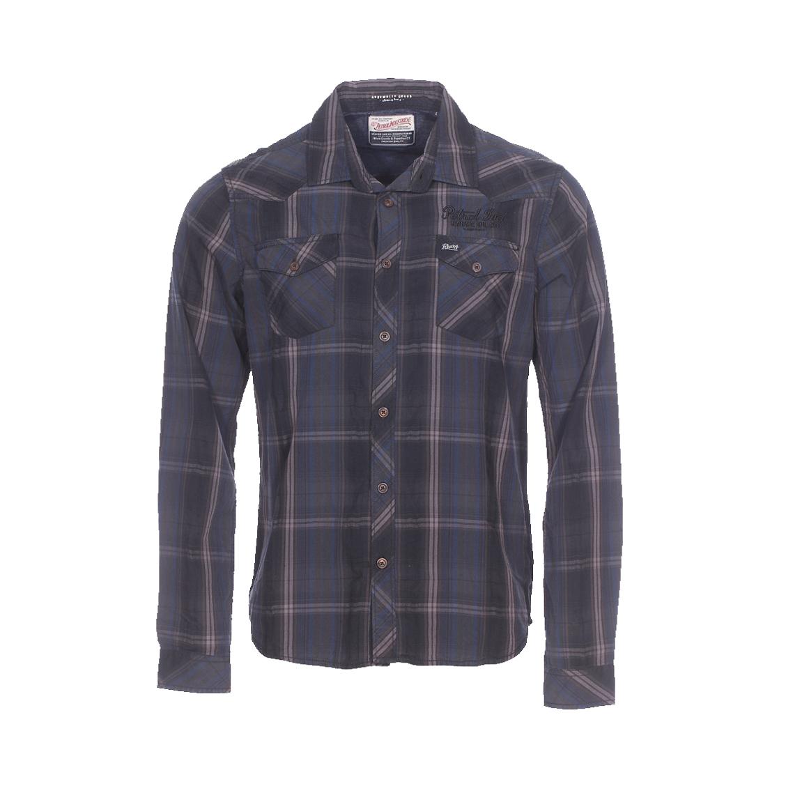 Chemise ajustée  en coton à carreaux marrons, noirs et bleu foncé