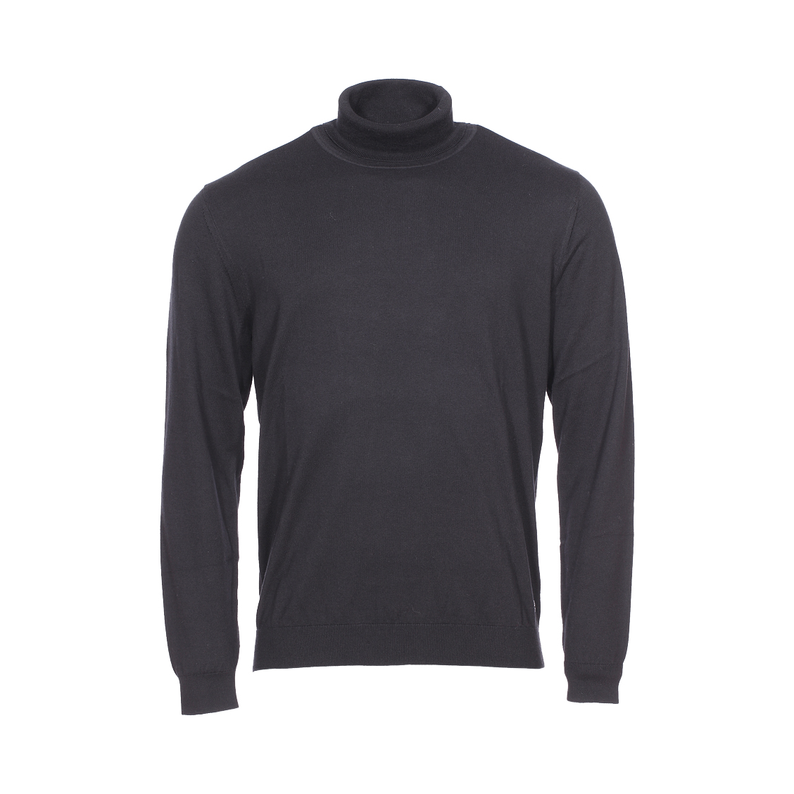 Pull col roulé  en laine mérinos et coton pima noir