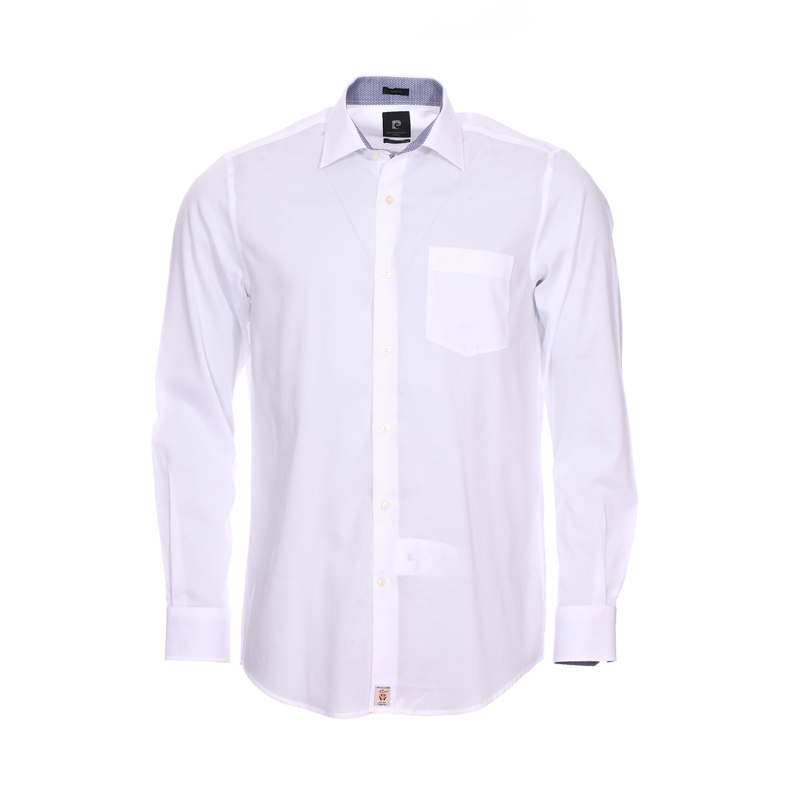 Chemise ajustée  en coton stretch blanc à opposition à motifs bleus