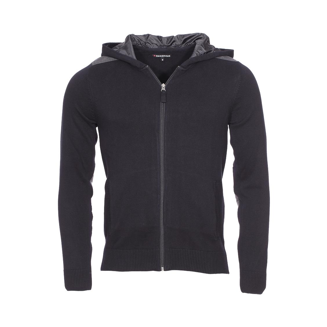 Gilet zippé à capuche  en coton noir floqué au dos