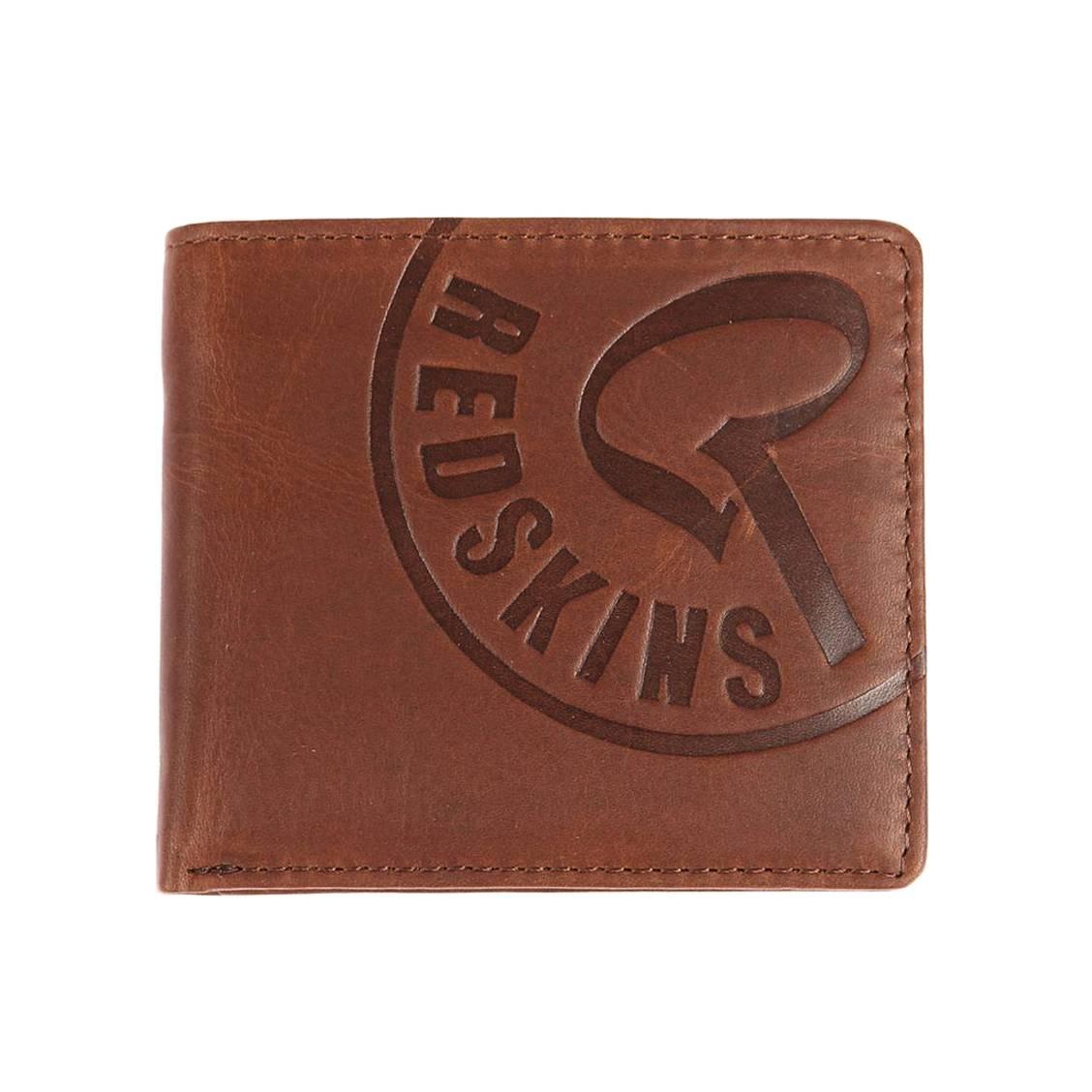 Portefeuille italien 2 volets redskins en cuir chocolat gravé