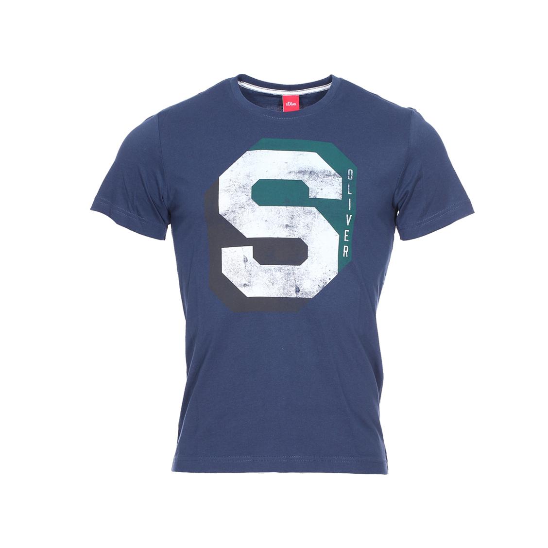 Tee-shirt col rond s.oliver bleu marine floqué en blanc, gris et vert