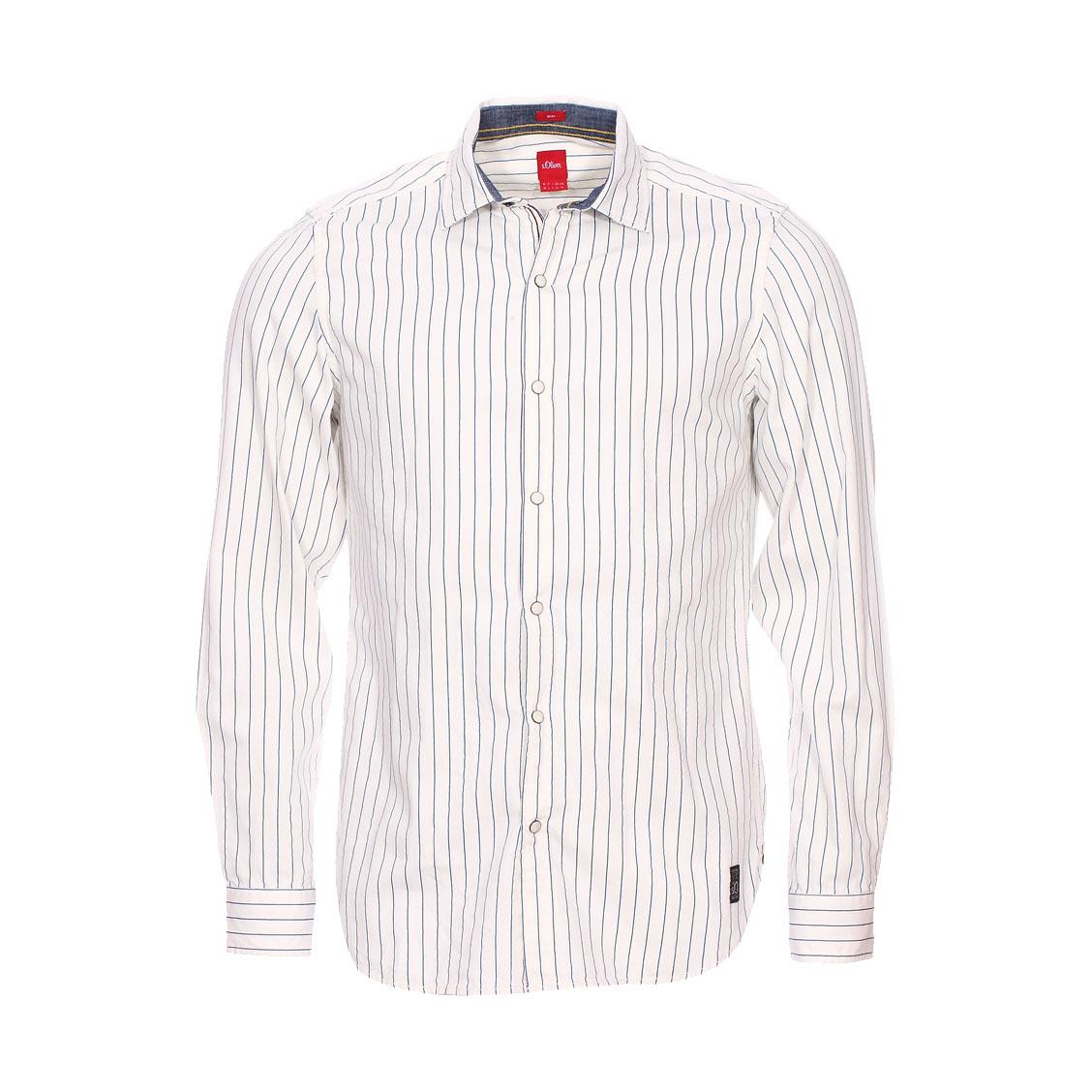 Chemise cintrée  en coton blanc à rayures bleues