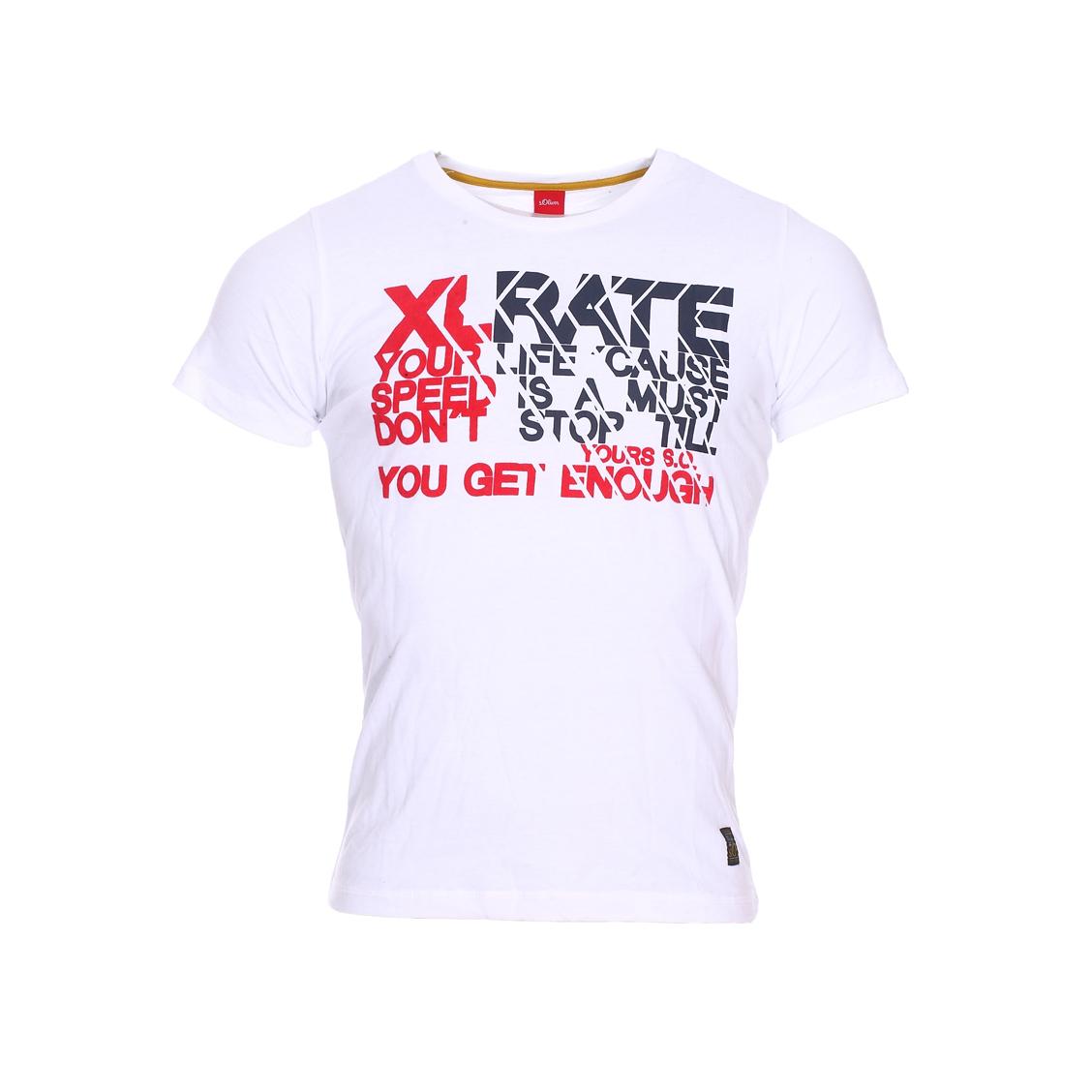Tee-shirt col rond  en coton blanc floqué en noir et rouge, effet velours