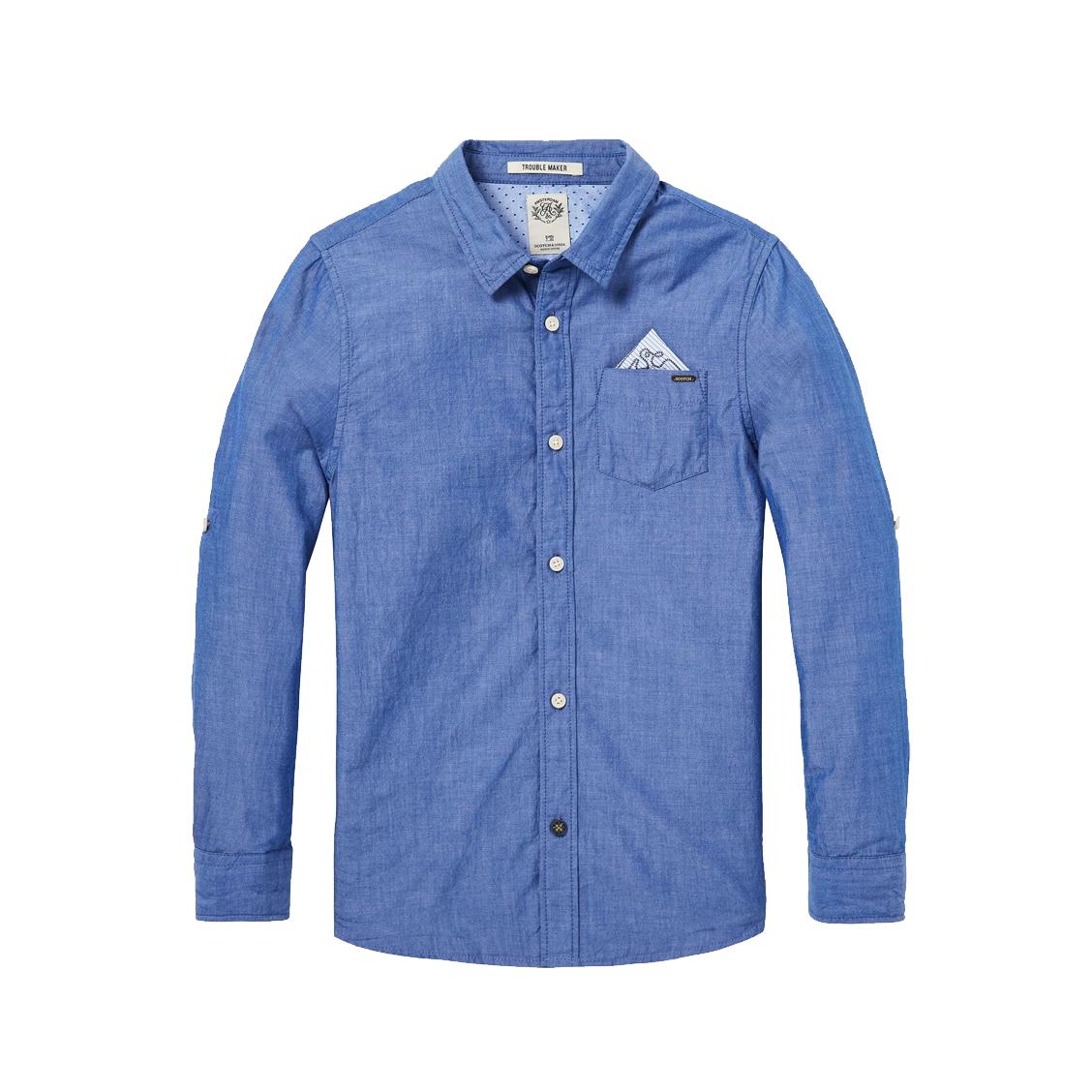 Chemise  en coton bleu jean