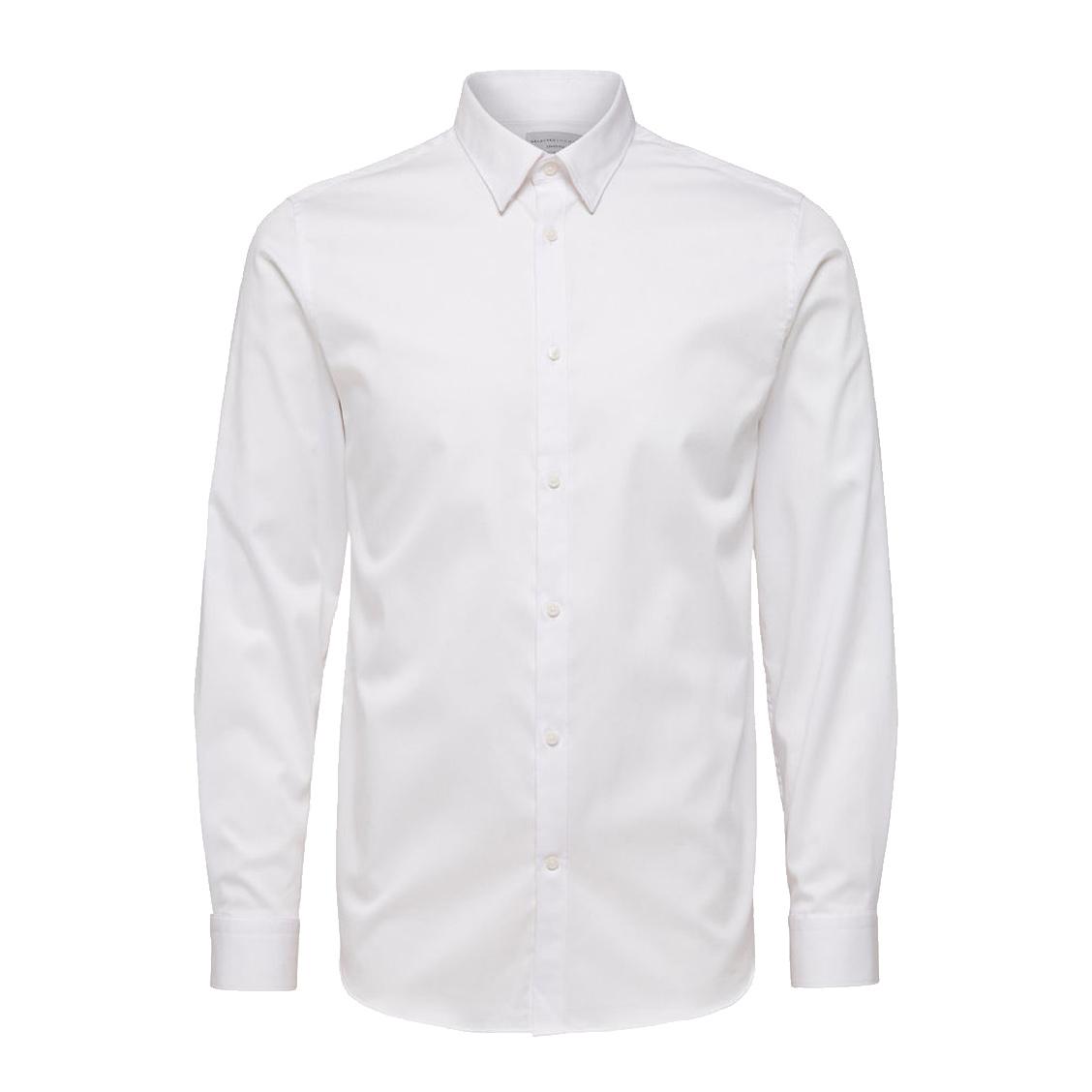 Chemise cintrée  en coton stretch blanc repassage facile