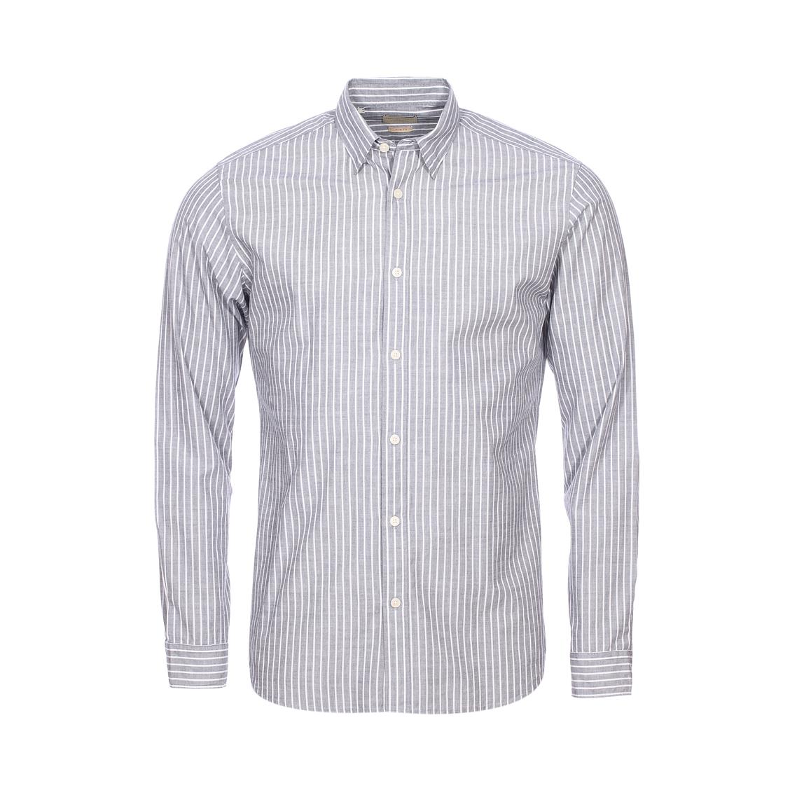 Chemise cintrée  en coton bleu indigo à rayures blanches