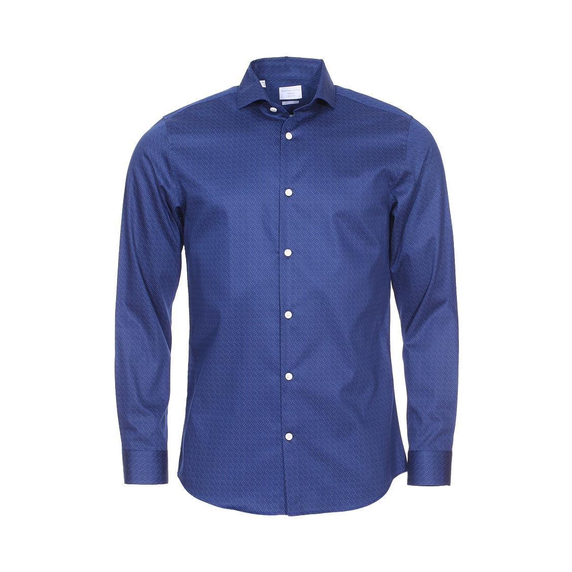 Chemise droite  en coton bleu marine à motifs et col évasé