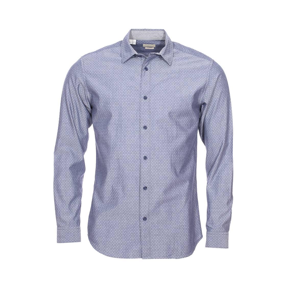 Chemise cintrée  en coton bleu effet jean à petits motifs blancs