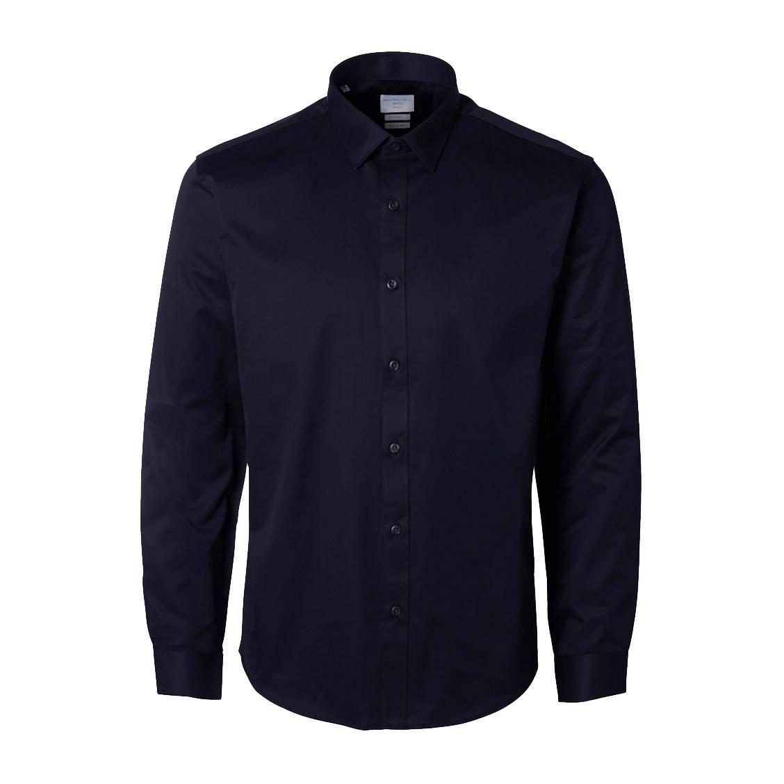 Chemise cintrée  en coton bleu marine, repassage facile