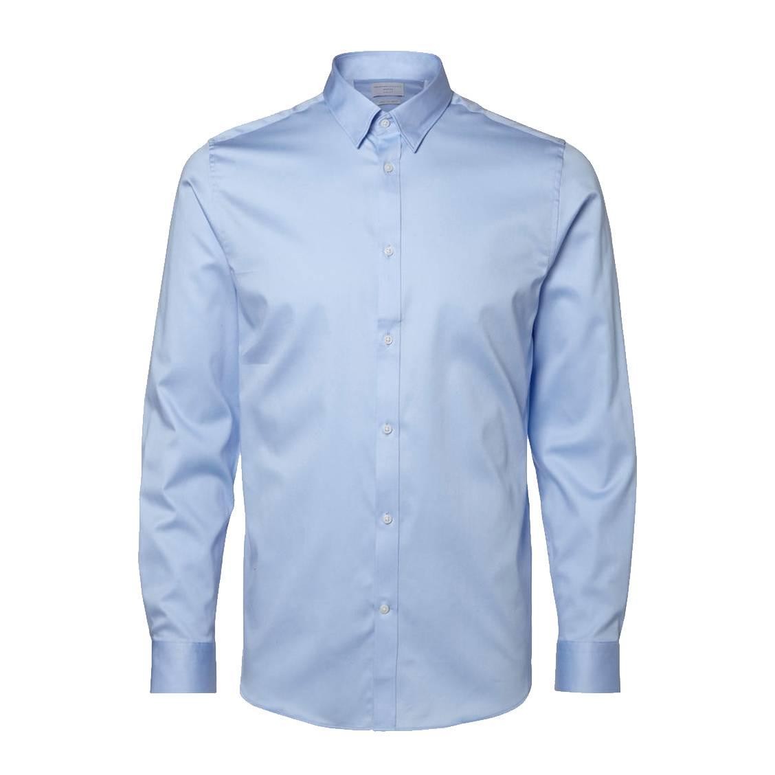 Chemise cintrée  en coton stretch bleu ciel, repassage facile