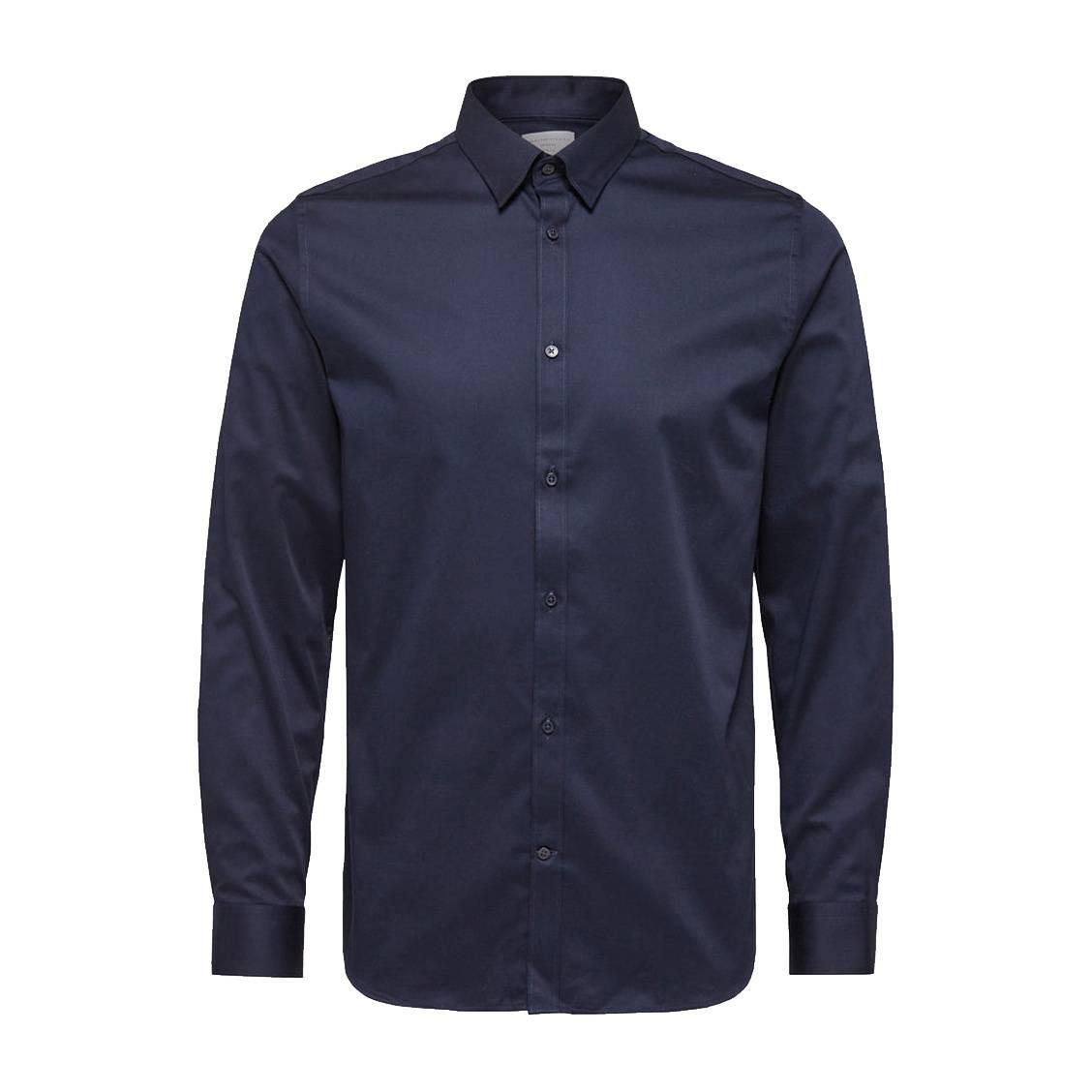 Chemise cintrée  en coton stretch bleu marine, repassage facile