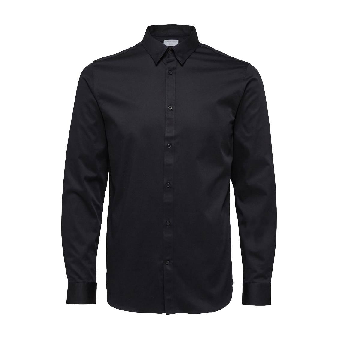 Chemise cintrée  en coton stretch noir, repassage facile