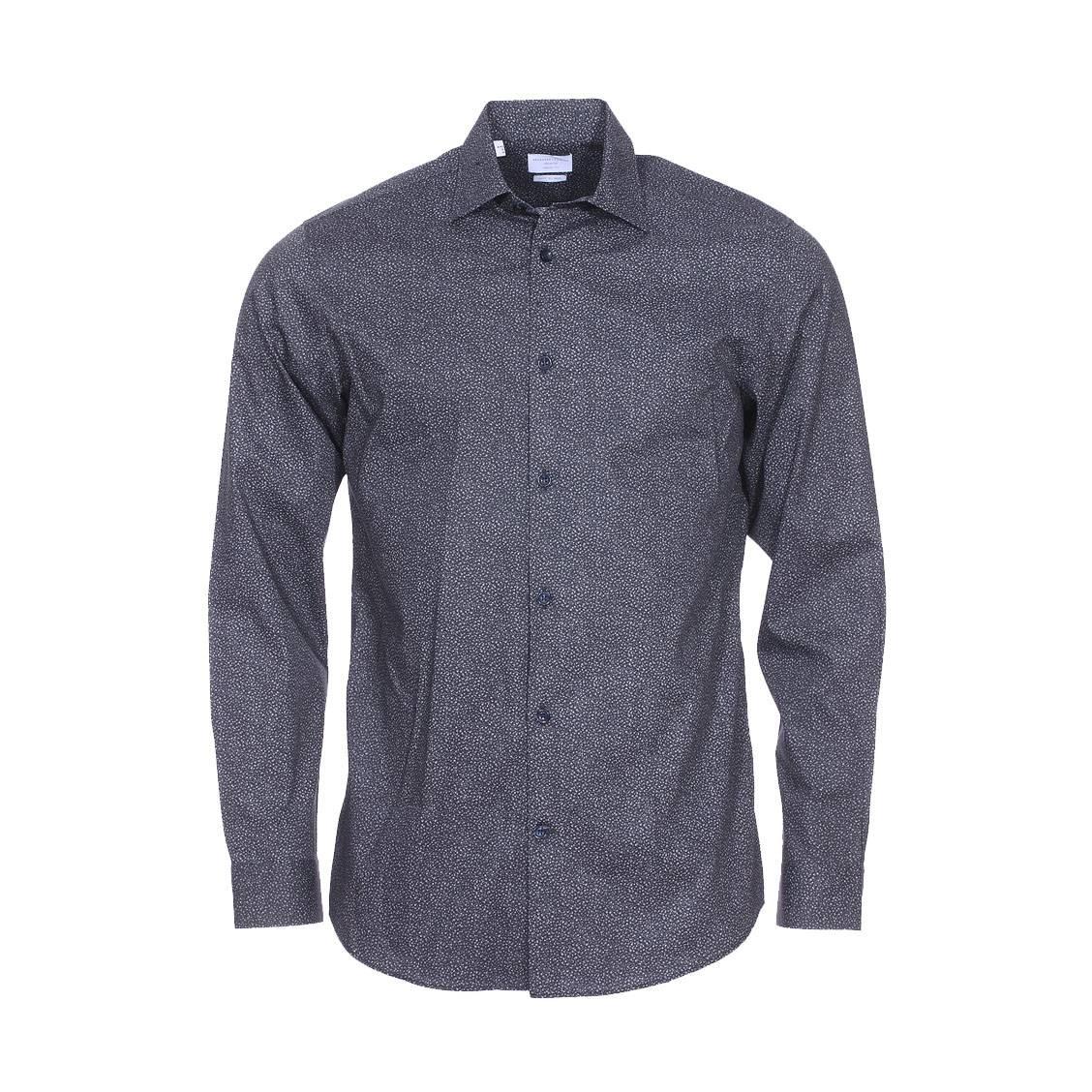 Chemise droite  bleu nuit à motifs floraux gris