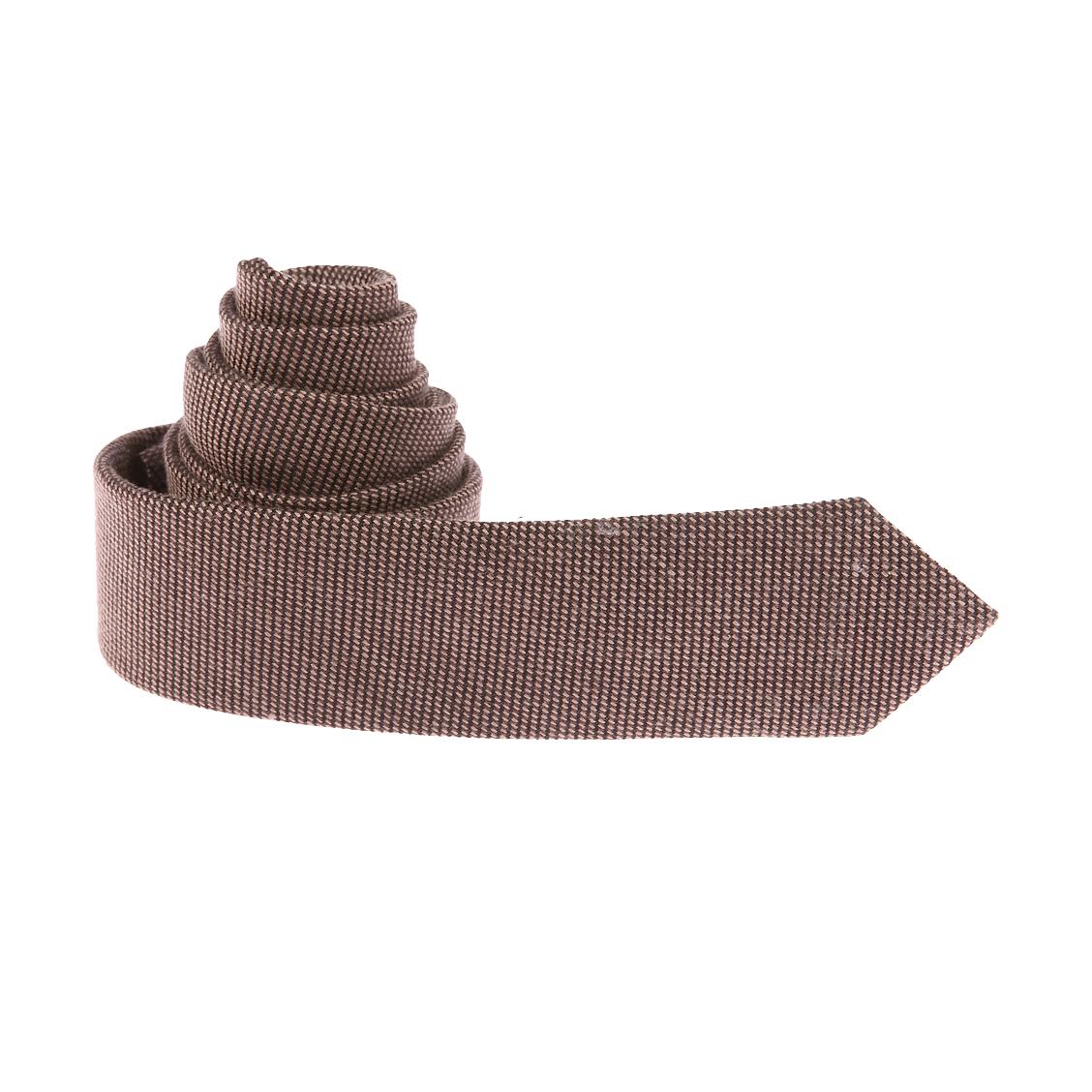 Cravate Selected en soie et laine à petits carreaux marron clair et marron foncé