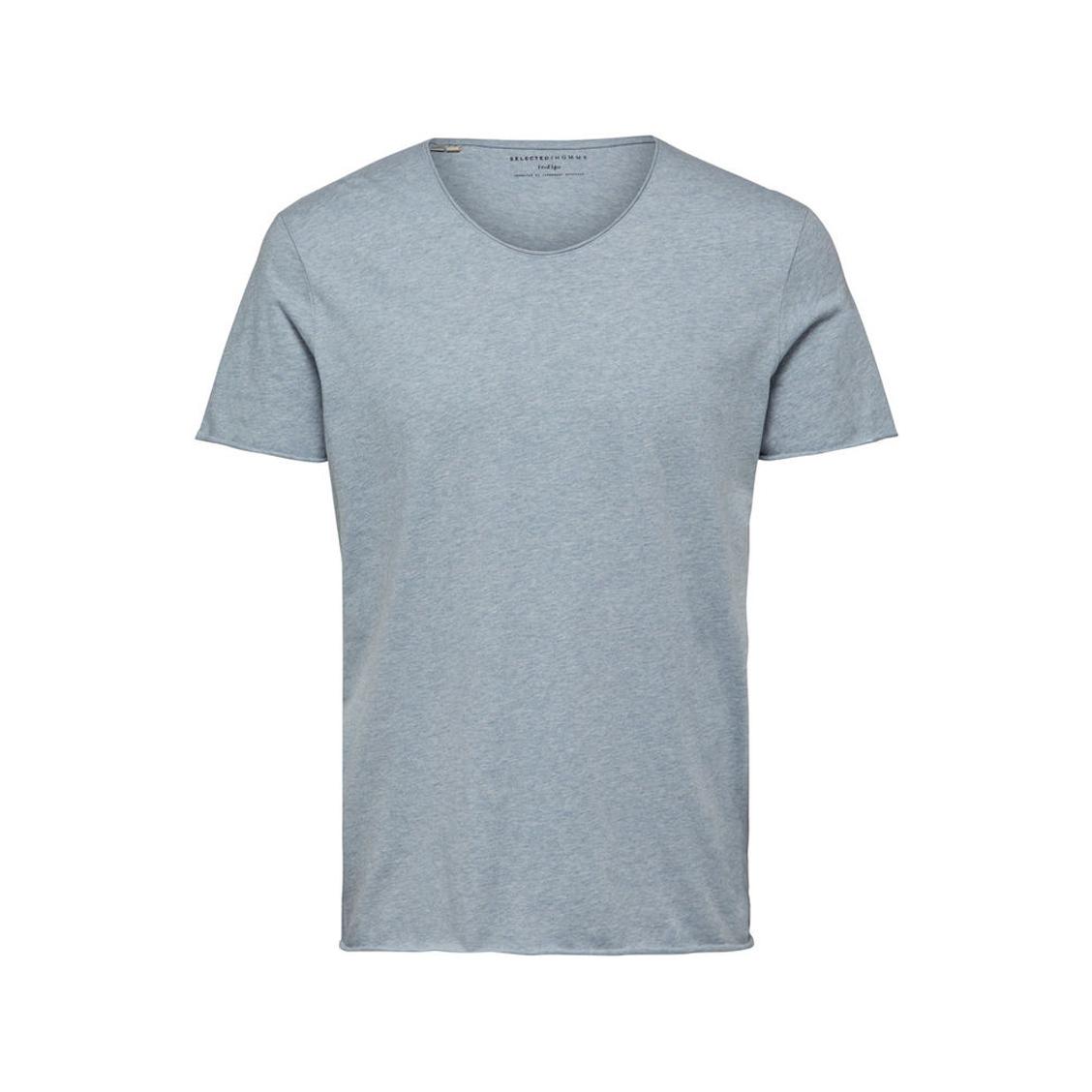 Tee-shirt col rond échancré  en coton gris chiné