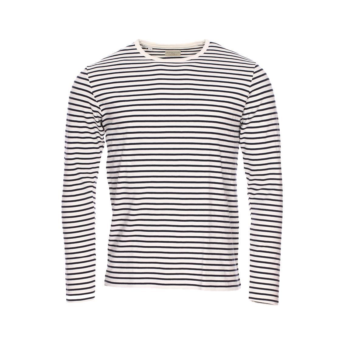 34442b68fe7 Tee-shirt manches longues Selected en coton crème à rayures bleu marine ...