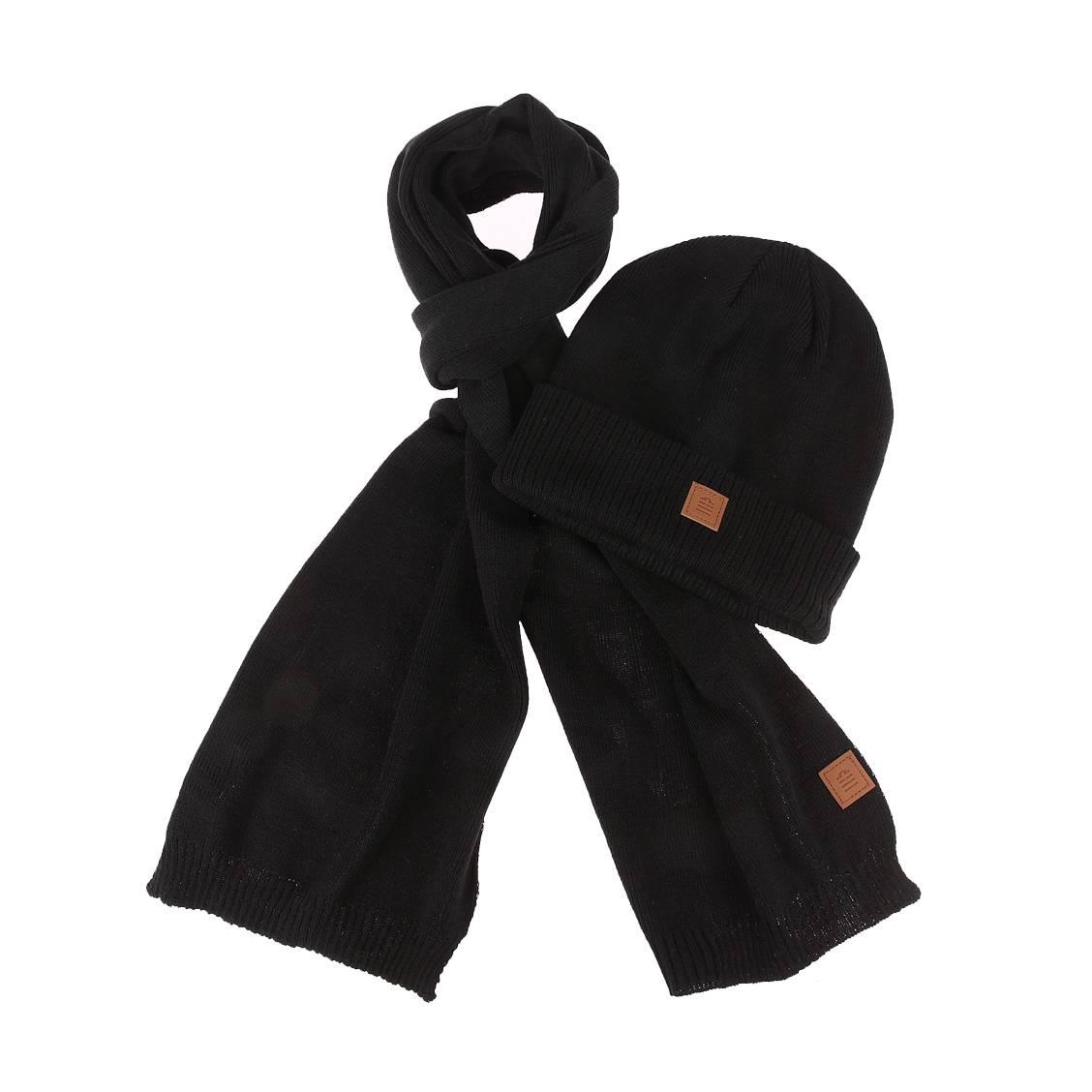Coffret serge blanco : bonnet et écharpe noirs