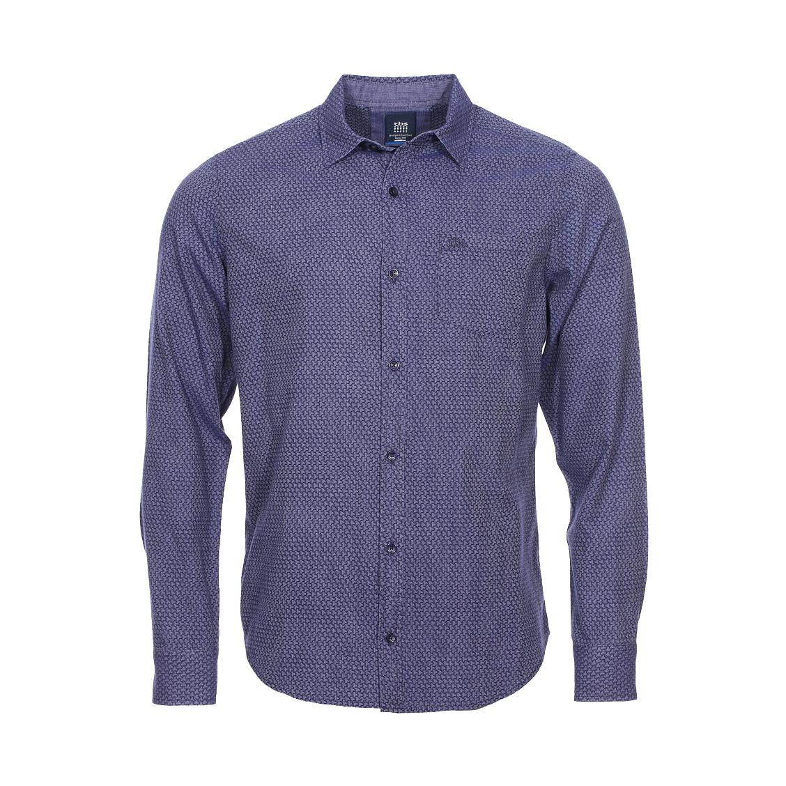 Chemise ajustée Bomche TBS en coton bleu marine à motifs