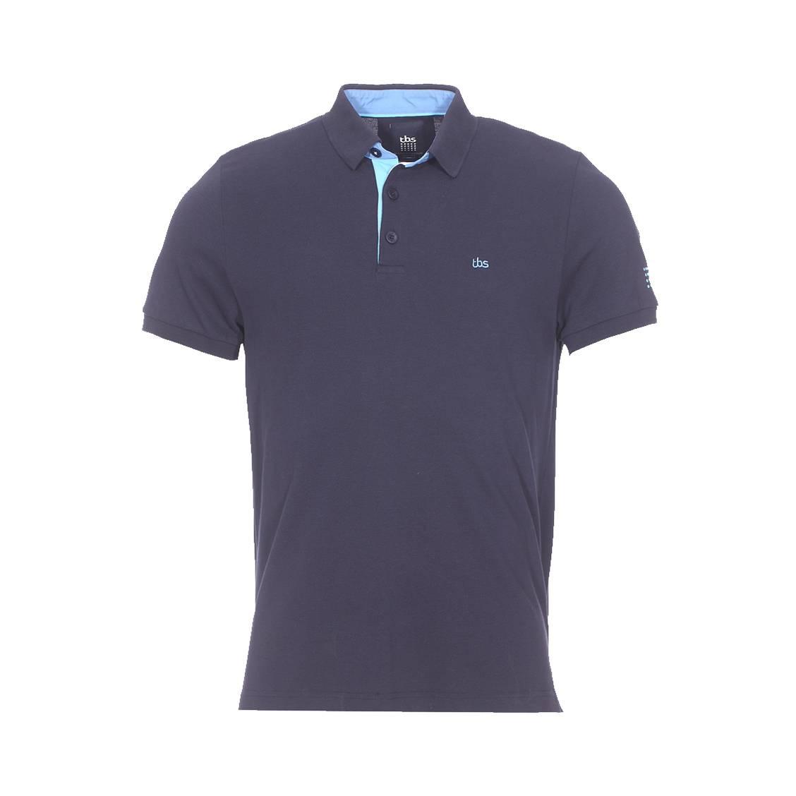 Polo TBS Lionpolo en coton bleu nuit à rayures bordeaux et blanches IOJgvqM0