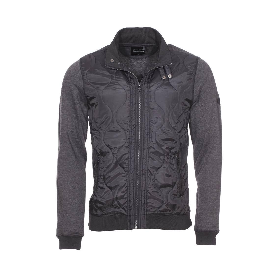 Sweat zippé geko  noire à manches gris antracite chiné