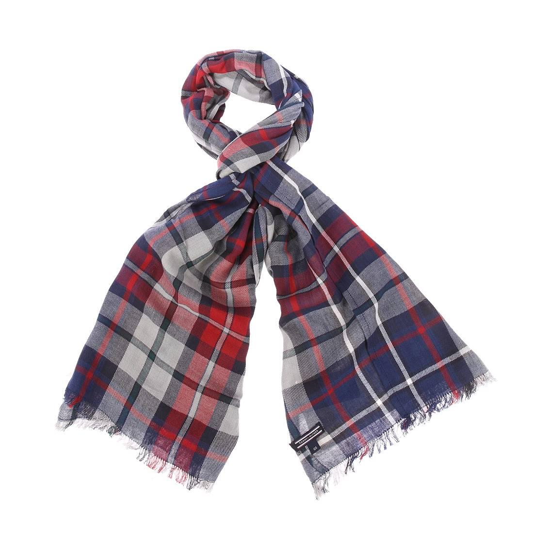 Chèche tommy hilfiger en coton à motifs tartan bleus, blancs et gris