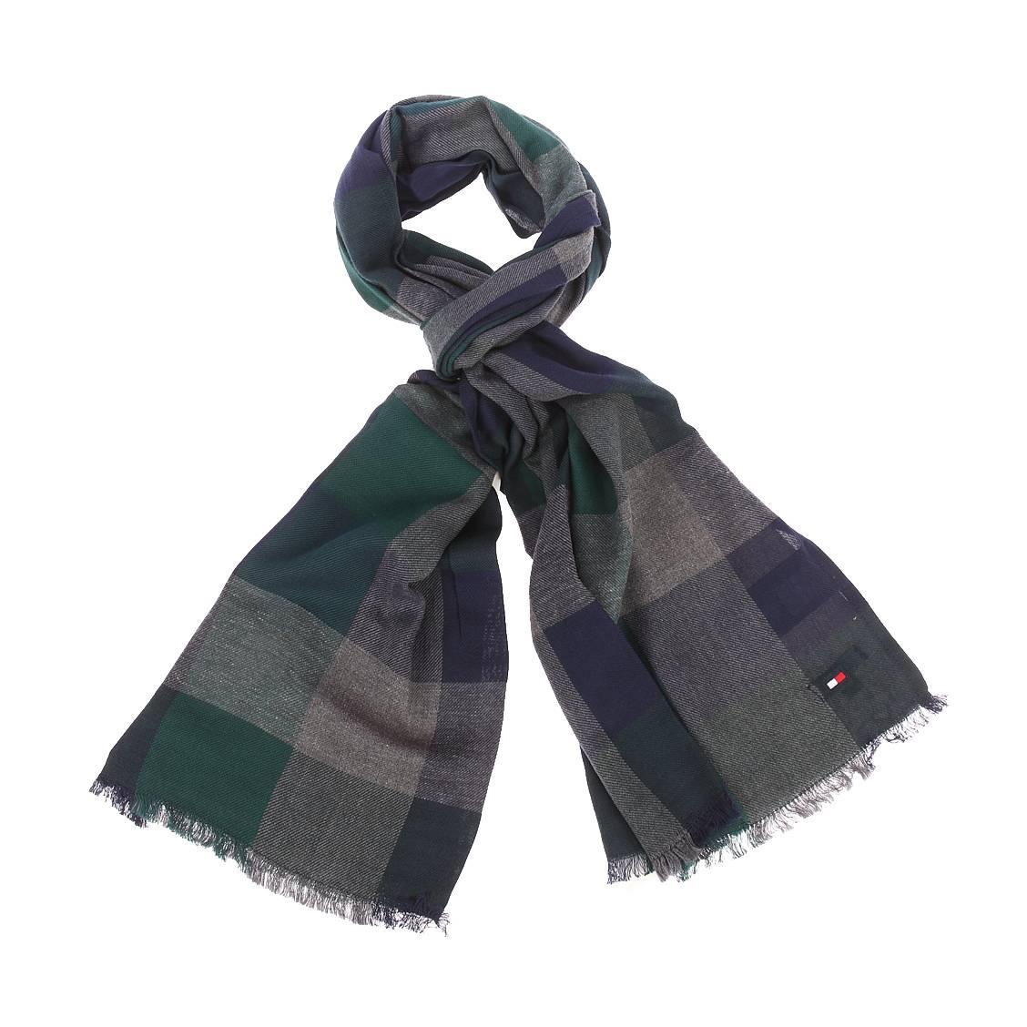 Echarpe gingham tommy hilfiger en coton à carreaux gris, bleu marine et verts