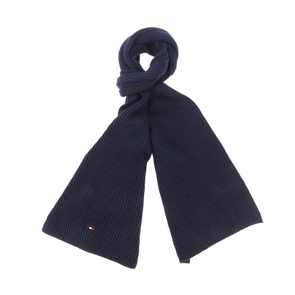 Echarpe tommy hilfiger en coton pima et cachemire bleu nuit