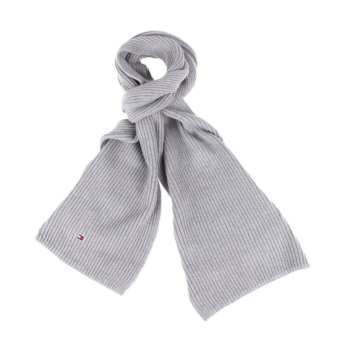 Echarpe tommy hilfiger en coton pima et cachemire gris clair