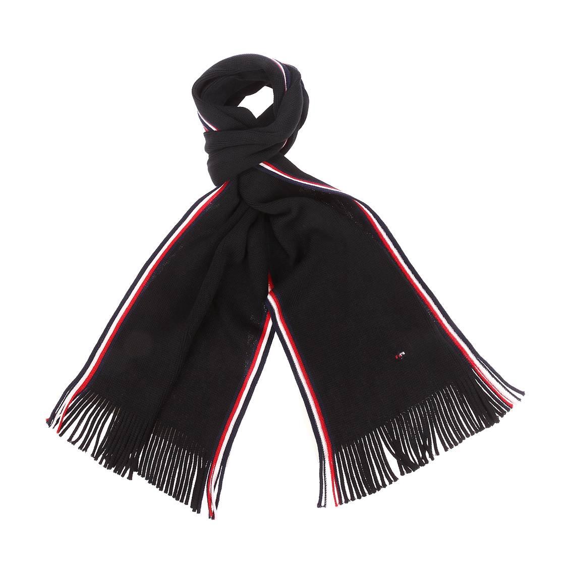 Echarpe tommy hilfiger en laine noire à rayures