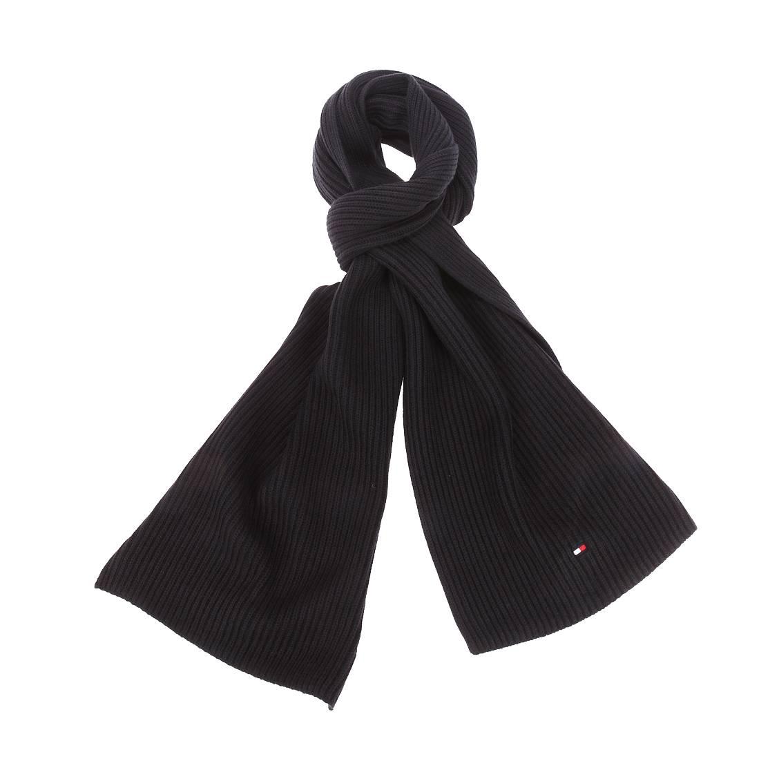 Echarpe tommy hilfiger noire en coton pima et cachemire