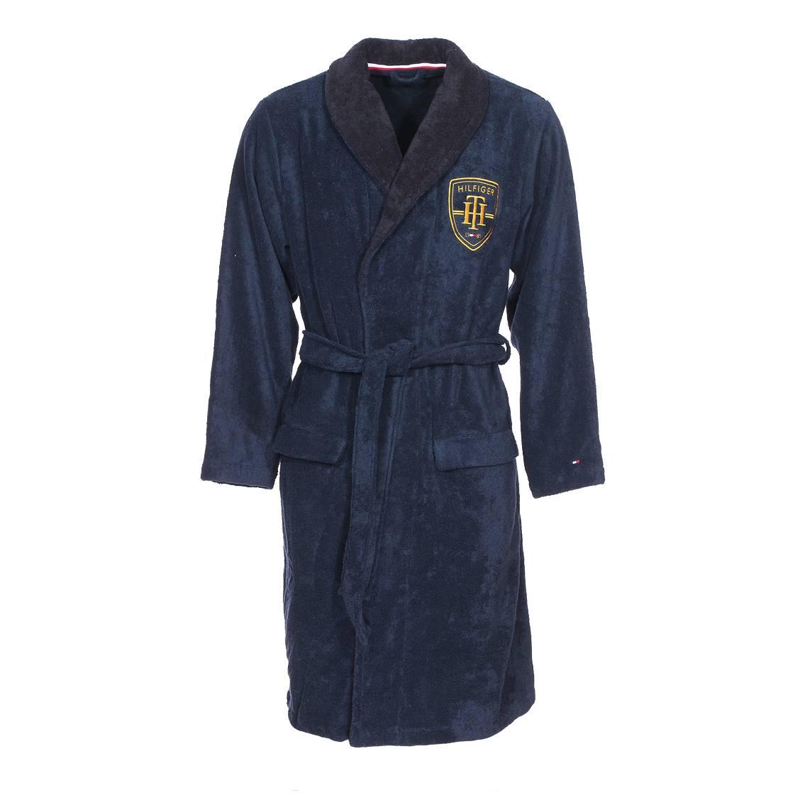 Robe De Chambre Tommy Hilfiger Bleu Marine Col Ch Le Noir Rue