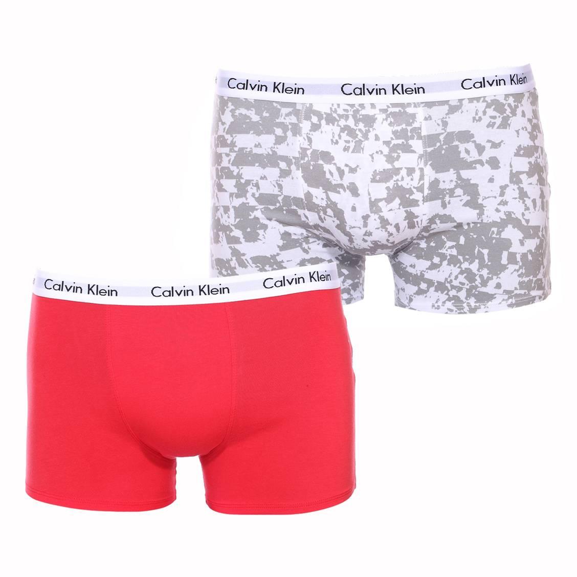 Lot de 2 boxers  en coton stretch rouge et blanc à motifs gris
