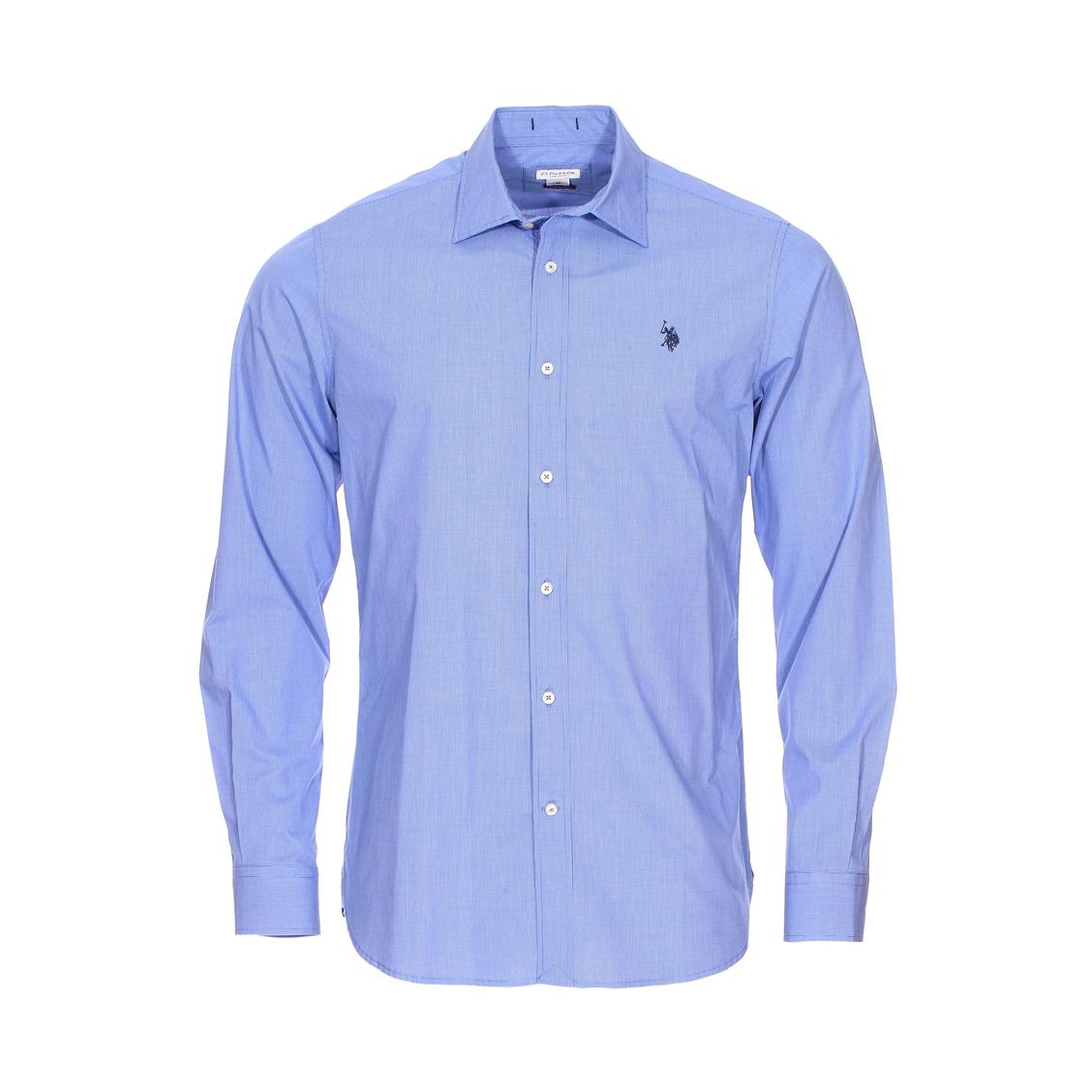 Chemise cintrée U.S. Polo Assn. en coton à petits carreaux bleus et blancs