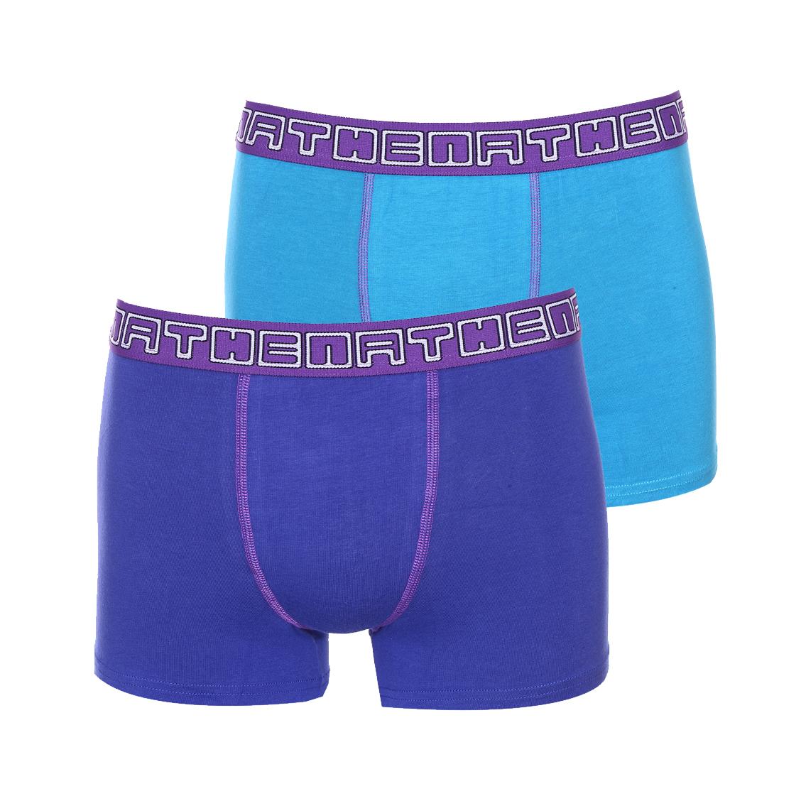 Lot de 2 boxers  en coton stretch bleu marine et bleu cyan à ceinture violette