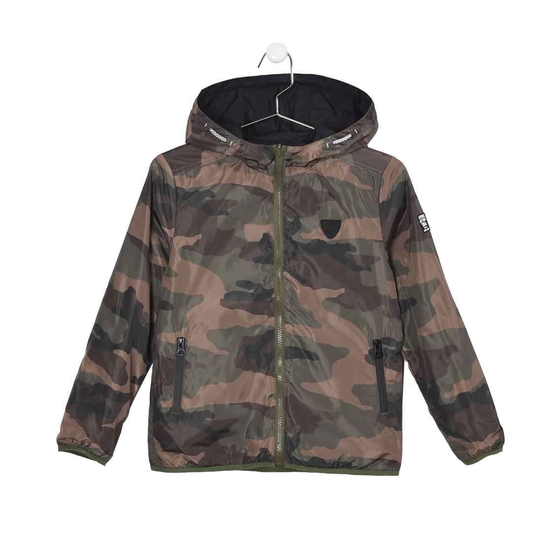Coup vent à capuche  rakam à imprimé camouflage réversible en noir
